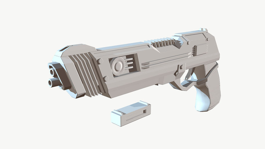 Sci-Fi Pistol Low Poly royalty-free 3d model - Preview no. 16