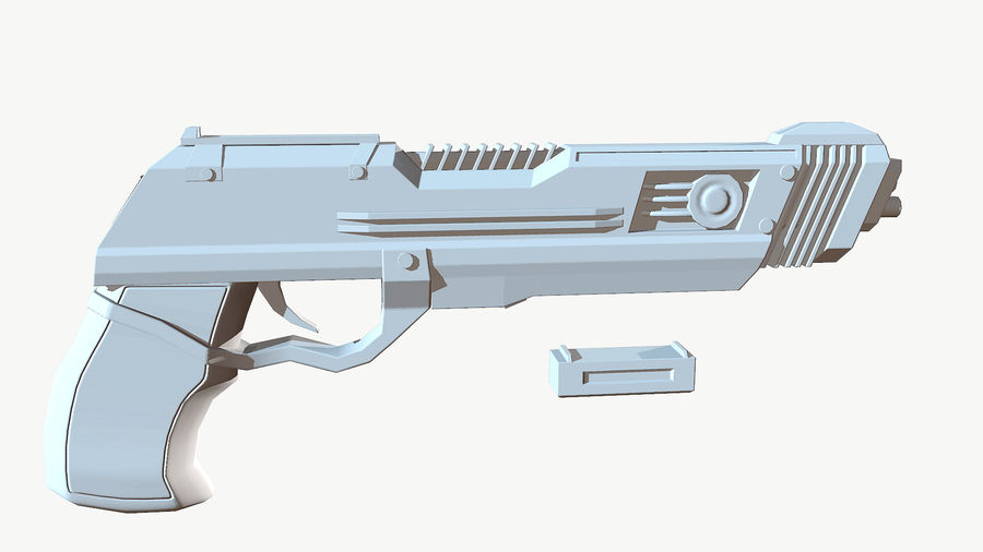 Sci-Fi Pistol Low Poly royalty-free 3d model - Preview no. 14