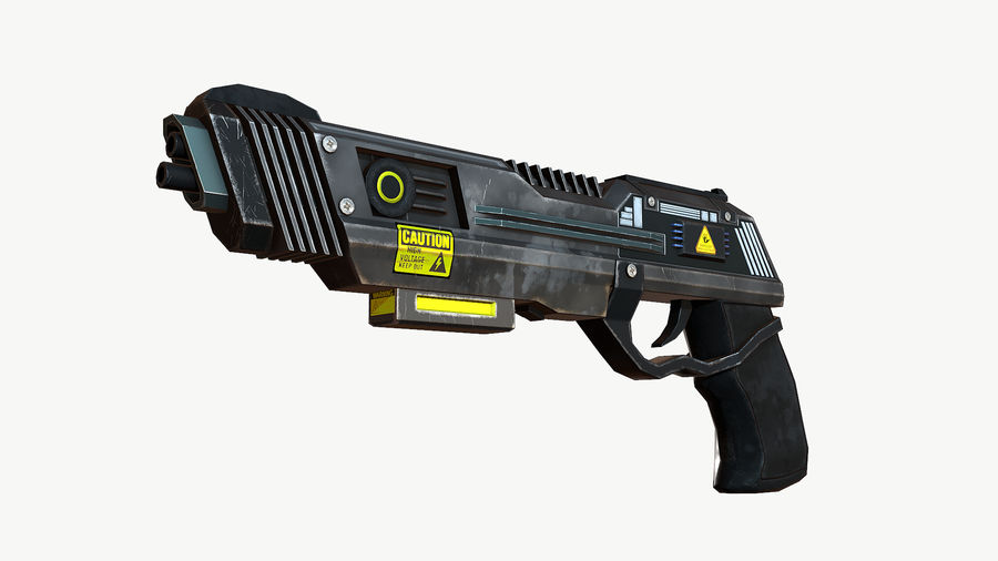 Sci-Fi Pistol Low Poly royalty-free 3d model - Preview no. 5