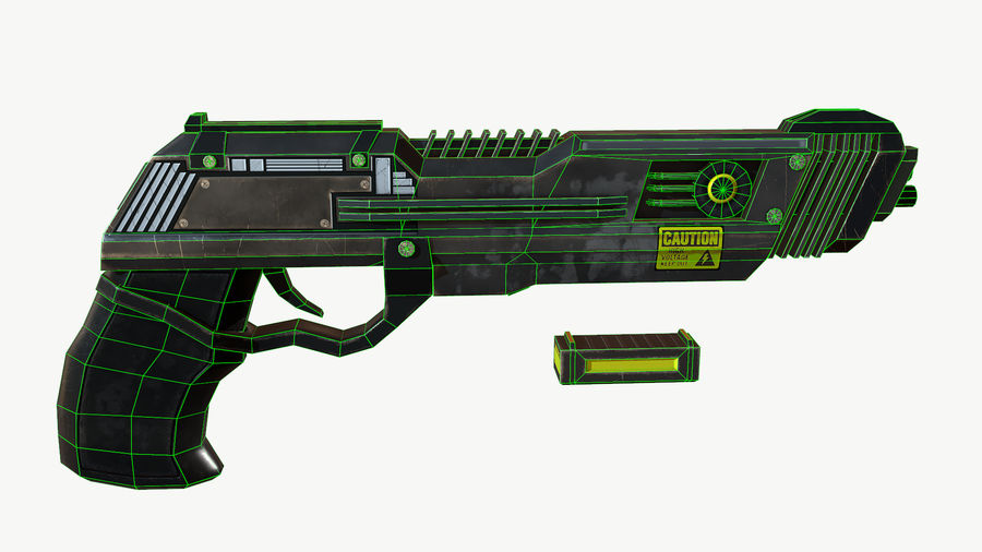 Sci-Fi Pistol Low Poly royalty-free 3d model - Preview no. 12