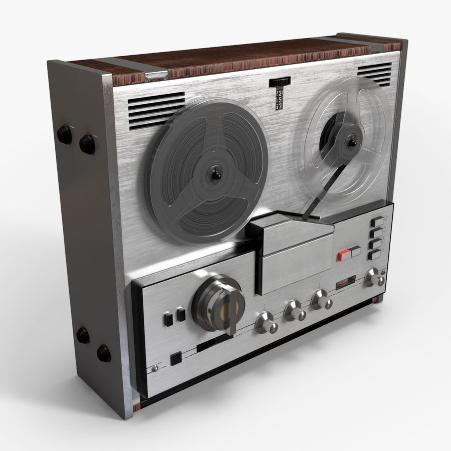Retro Reel Audio Tape Recorder royalty-free 3d model - Preview no. 2