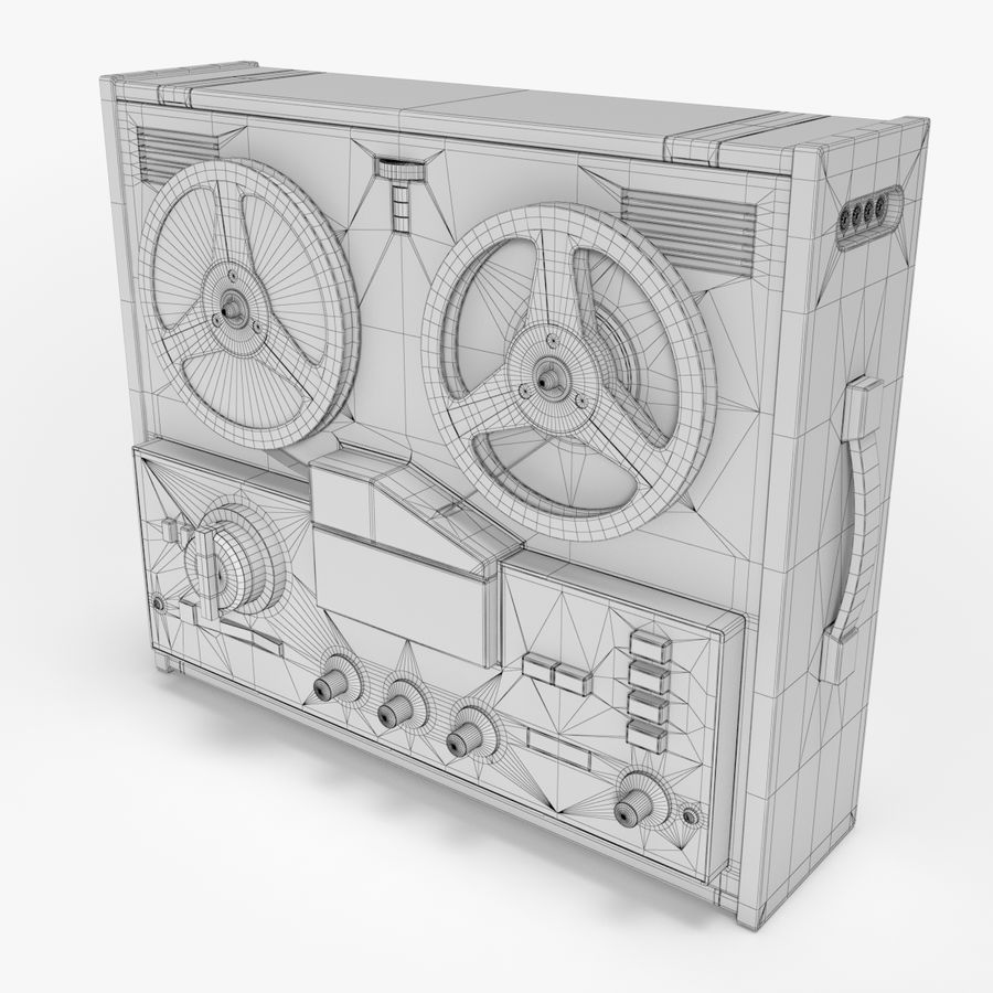 Retro Reel Audio Tape Recorder royalty-free 3d model - Preview no. 5