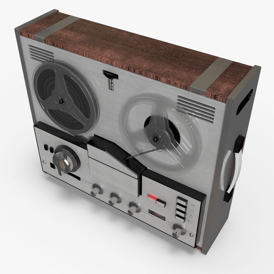 Retro Reel Audio Tape Recorder royalty-free 3d model - Preview no. 3