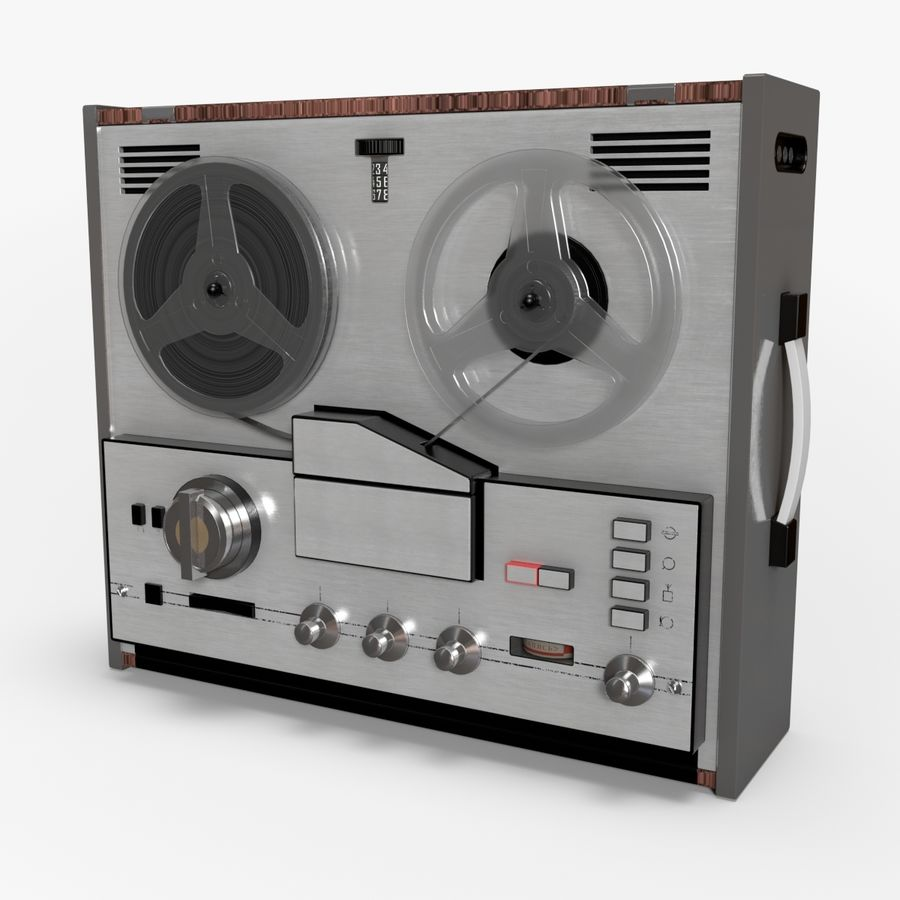 Retro Reel Audio Tape Recorder royalty-free 3d model - Preview no. 1