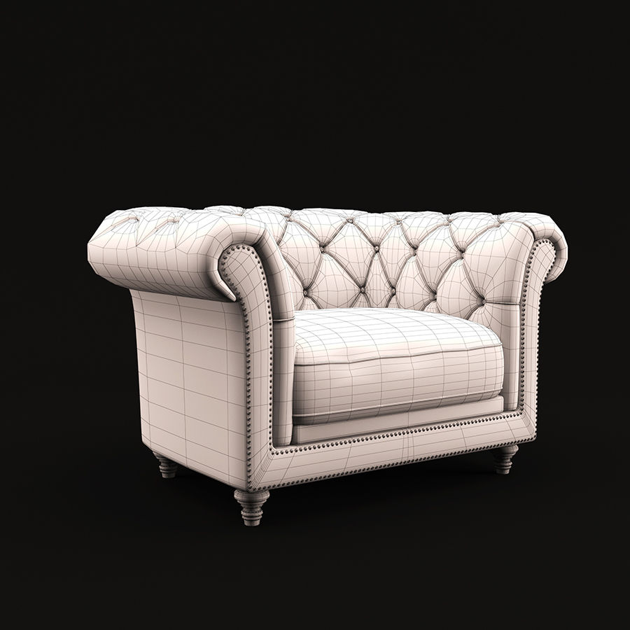 Poltrona Chesterfield royalty-free 3d model - Preview no. 3