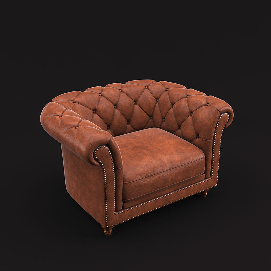 Poltrona Chesterfield royalty-free 3d model - Preview no. 5