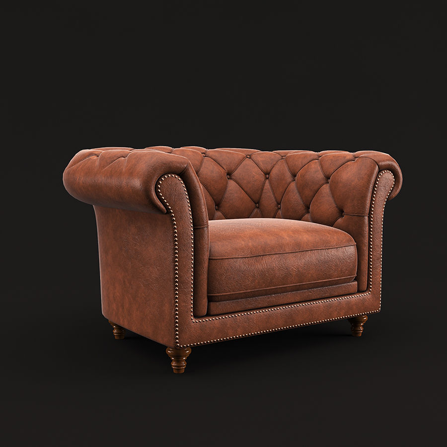 Poltrona Chesterfield royalty-free 3d model - Preview no. 2