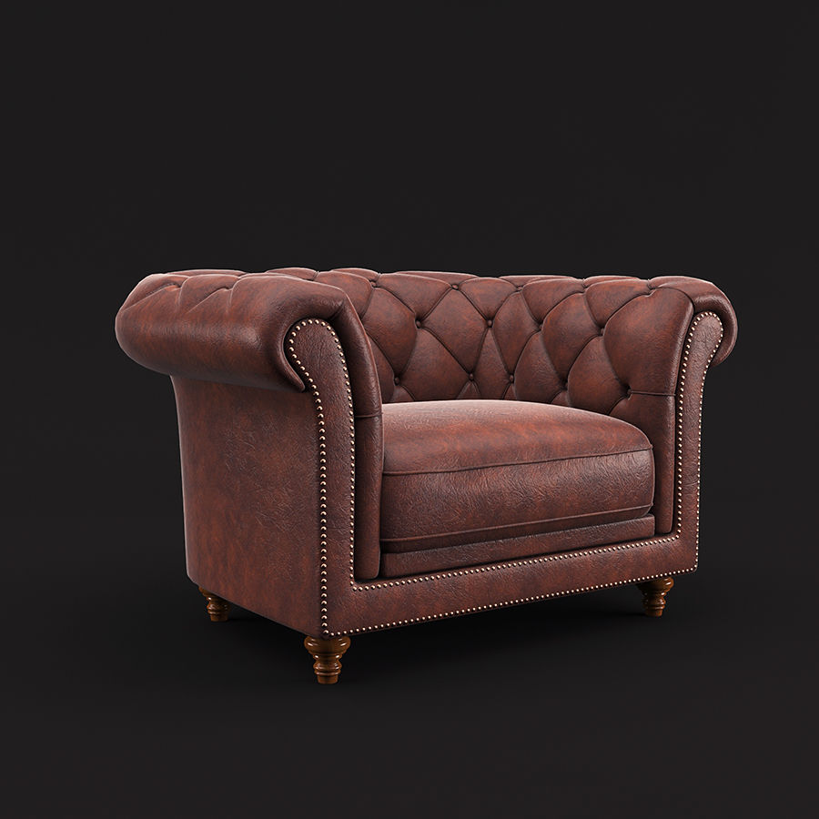 Poltrona Chesterfield royalty-free 3d model - Preview no. 1