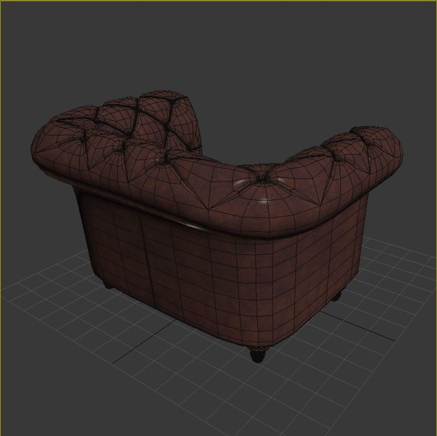 Poltrona Chesterfield royalty-free 3d model - Preview no. 7
