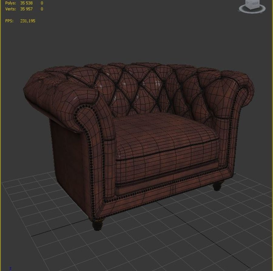 Poltrona Chesterfield royalty-free 3d model - Preview no. 6