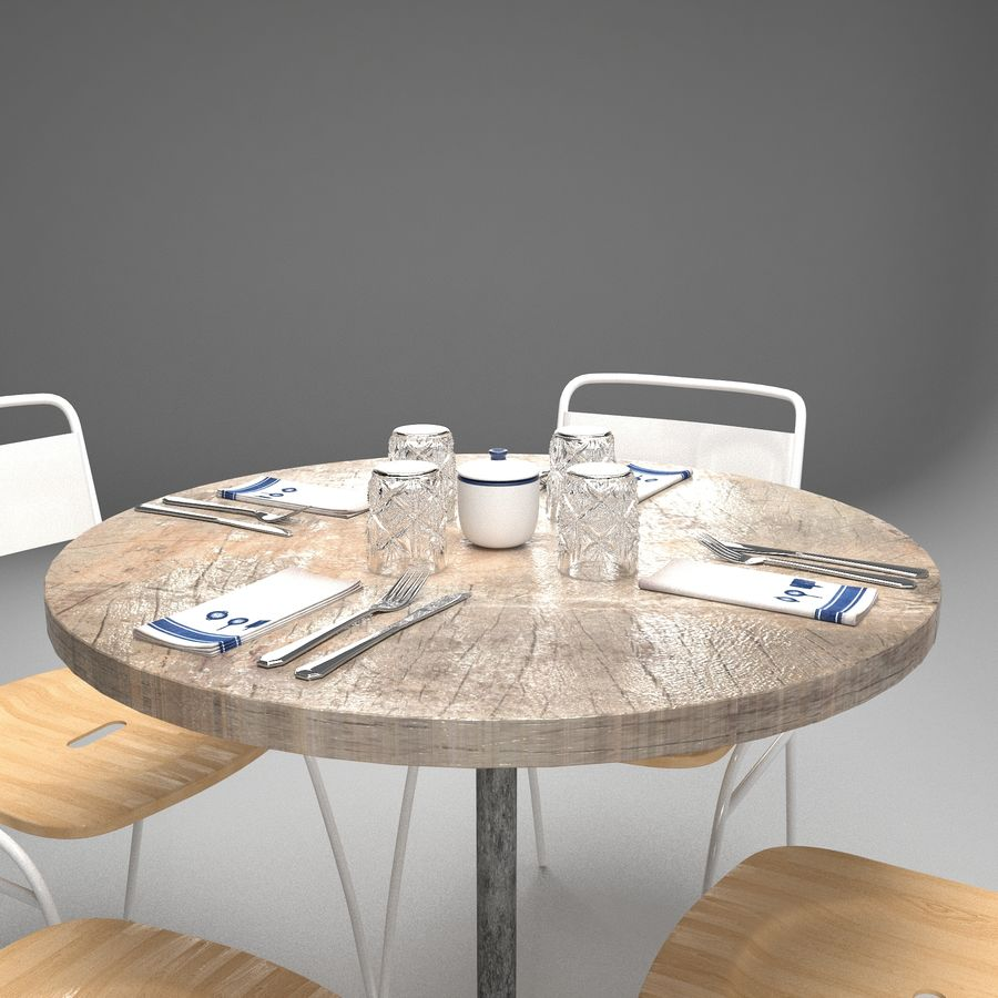 Restaurangbord (4) royalty-free 3d model - Preview no. 7