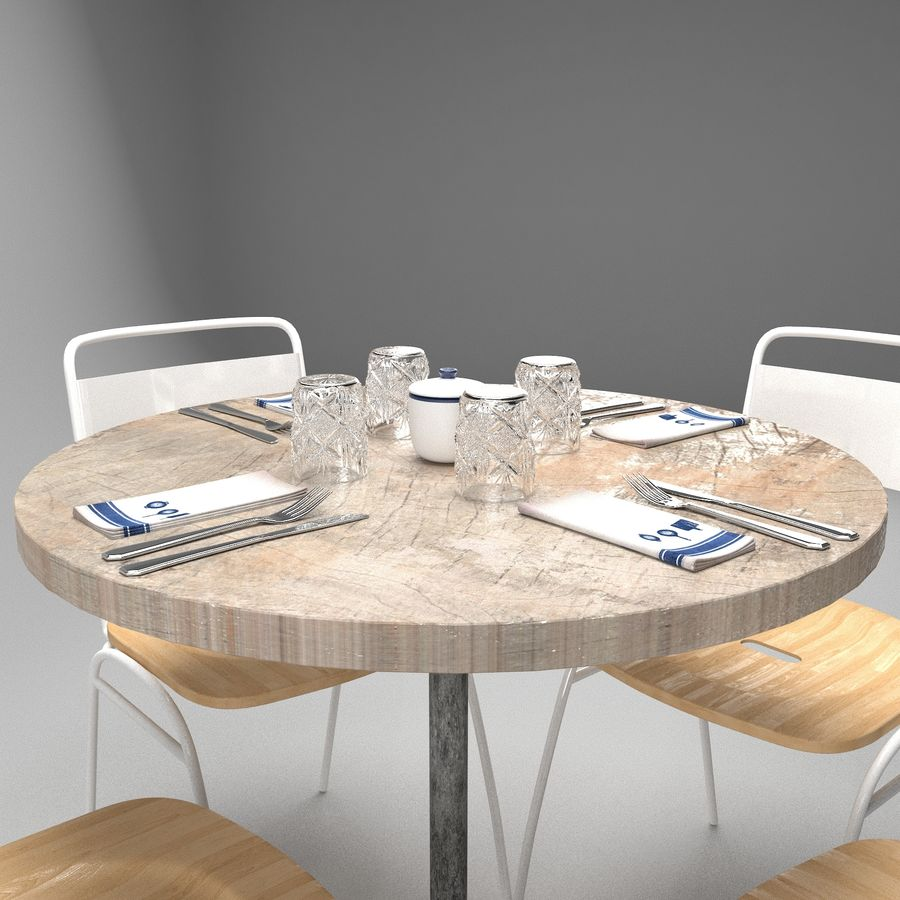 Restaurangbord (4) royalty-free 3d model - Preview no. 3