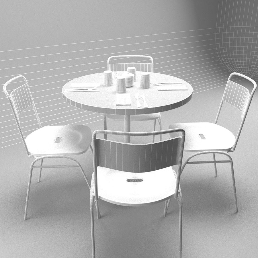 Restaurangbord (4) royalty-free 3d model - Preview no. 2