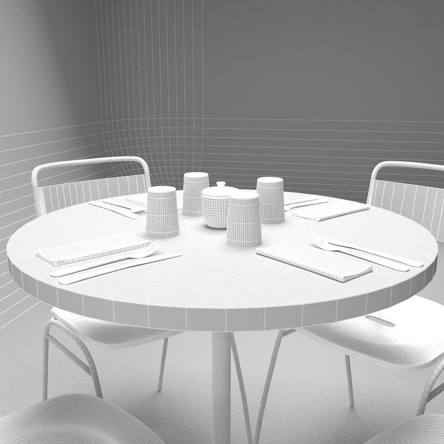 Restaurangbord (4) royalty-free 3d model - Preview no. 4