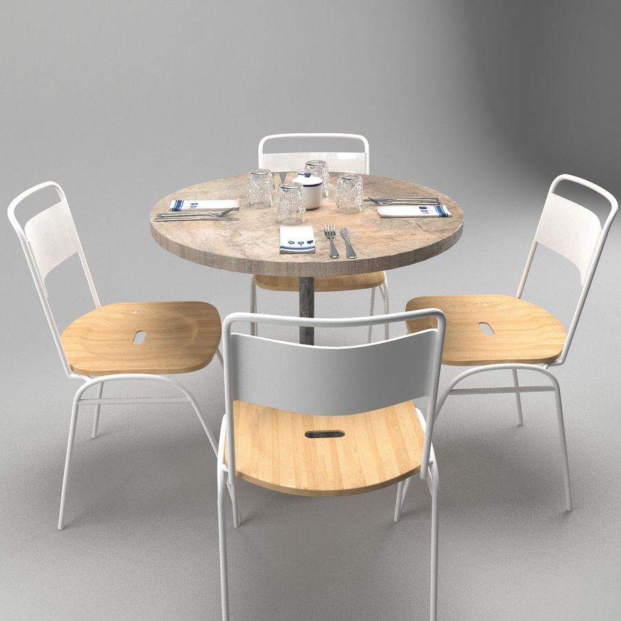 Restaurangbord (4) royalty-free 3d model - Preview no. 1