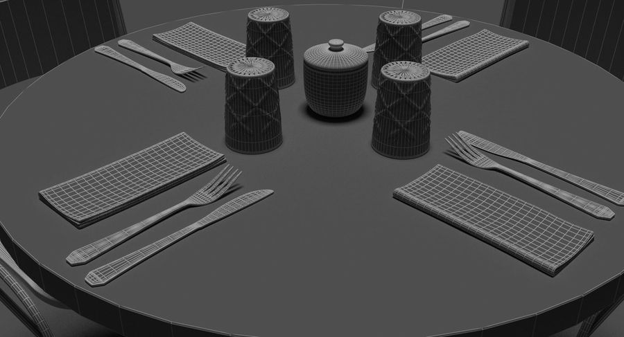 Restaurangbord (4) royalty-free 3d model - Preview no. 22