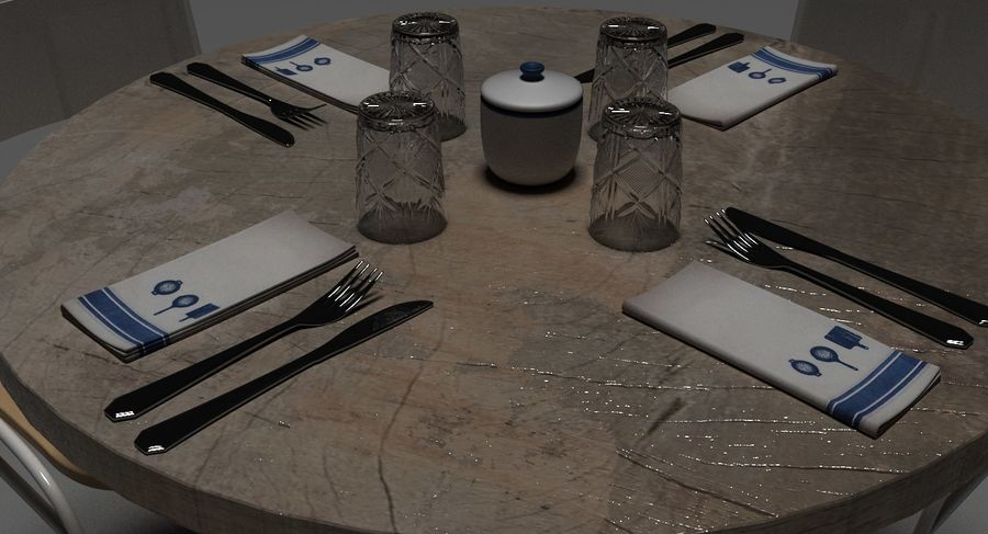 Restaurangbord (4) royalty-free 3d model - Preview no. 21