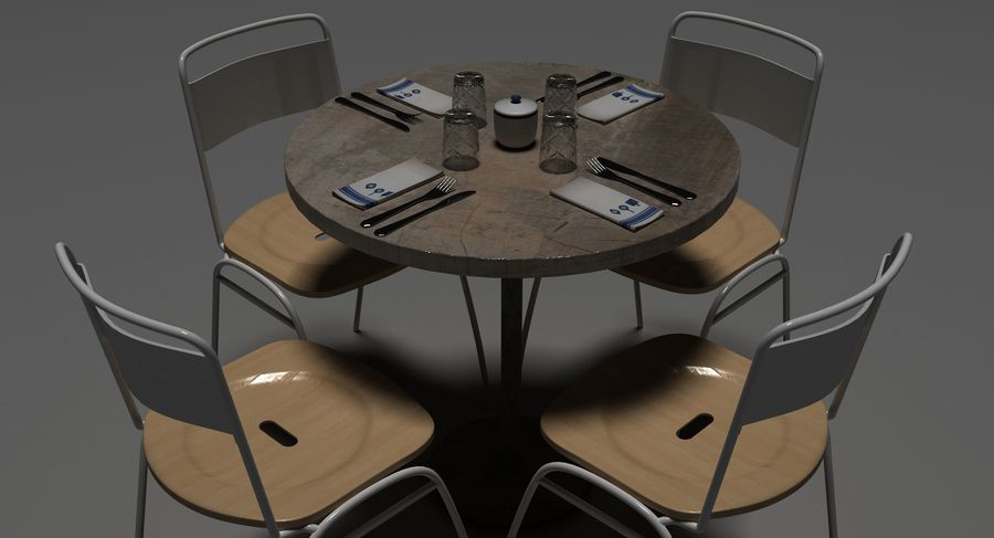 Restaurangbord (4) royalty-free 3d model - Preview no. 19