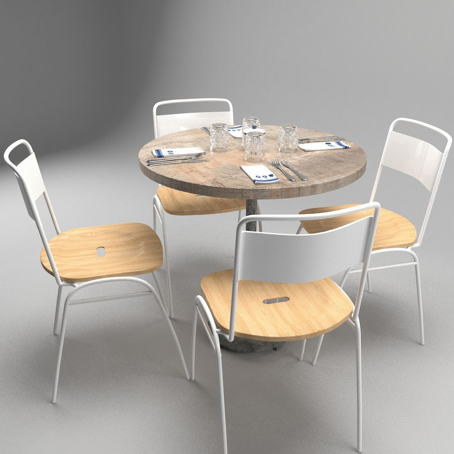 Restaurangbord (4) royalty-free 3d model - Preview no. 5