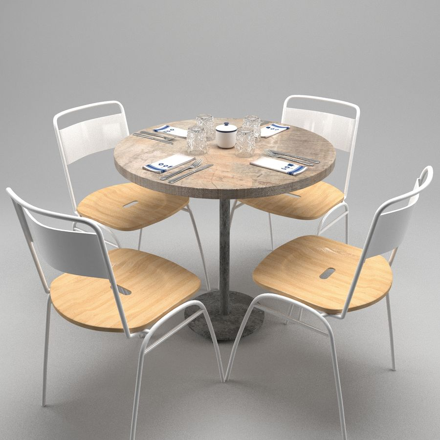 Restaurangbord (4) royalty-free 3d model - Preview no. 9