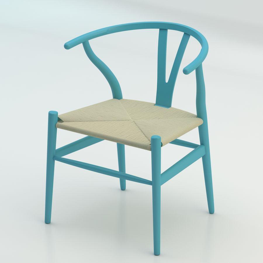 La silla escandinava Wishbone CH24 High Poly modelo de alta calidad en madera azul royalty-free modelo 3d - Preview no. 1