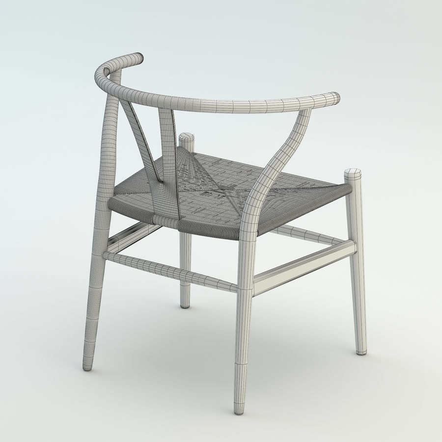 La silla escandinava Wishbone CH24 High Poly modelo de alta calidad en madera azul royalty-free modelo 3d - Preview no. 10