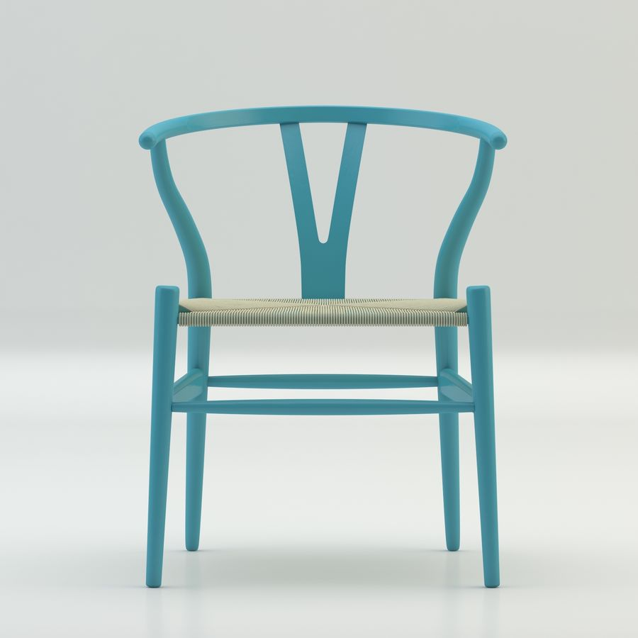 La silla escandinava Wishbone CH24 High Poly modelo de alta calidad en madera azul royalty-free modelo 3d - Preview no. 3