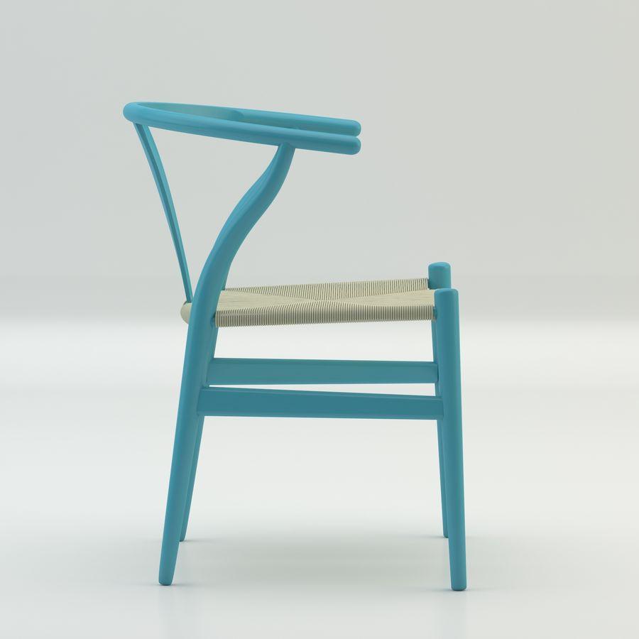 La silla escandinava Wishbone CH24 High Poly modelo de alta calidad en madera azul royalty-free modelo 3d - Preview no. 4