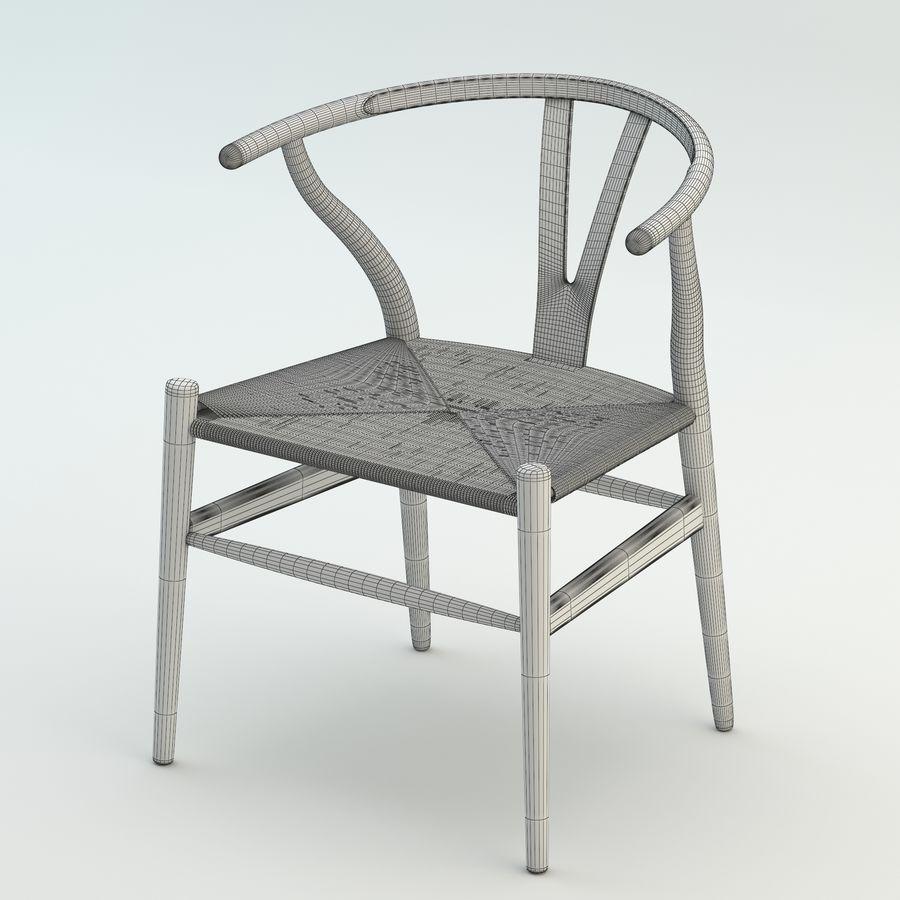 La silla escandinava Wishbone CH24 High Poly modelo de alta calidad en madera azul royalty-free modelo 3d - Preview no. 8