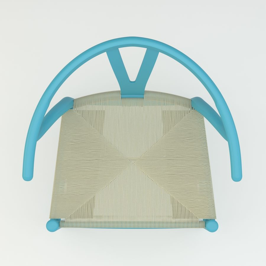 La silla escandinava Wishbone CH24 High Poly modelo de alta calidad en madera azul royalty-free modelo 3d - Preview no. 6