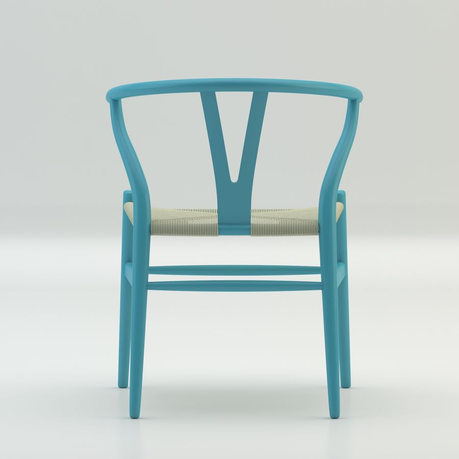 La silla escandinava Wishbone CH24 High Poly modelo de alta calidad en madera azul royalty-free modelo 3d - Preview no. 5