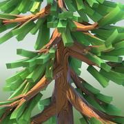 低ポリ漫画針葉樹02 3d model