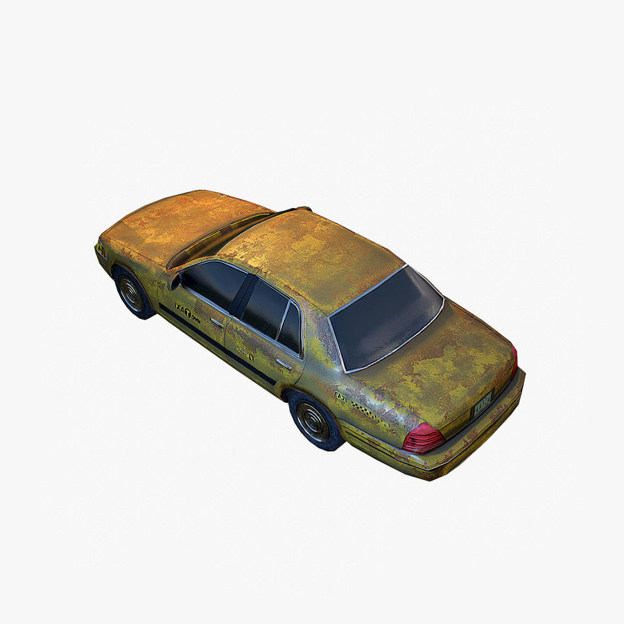 Old Car Taxi (low poly) royalty-free 3d model - Preview no. 3