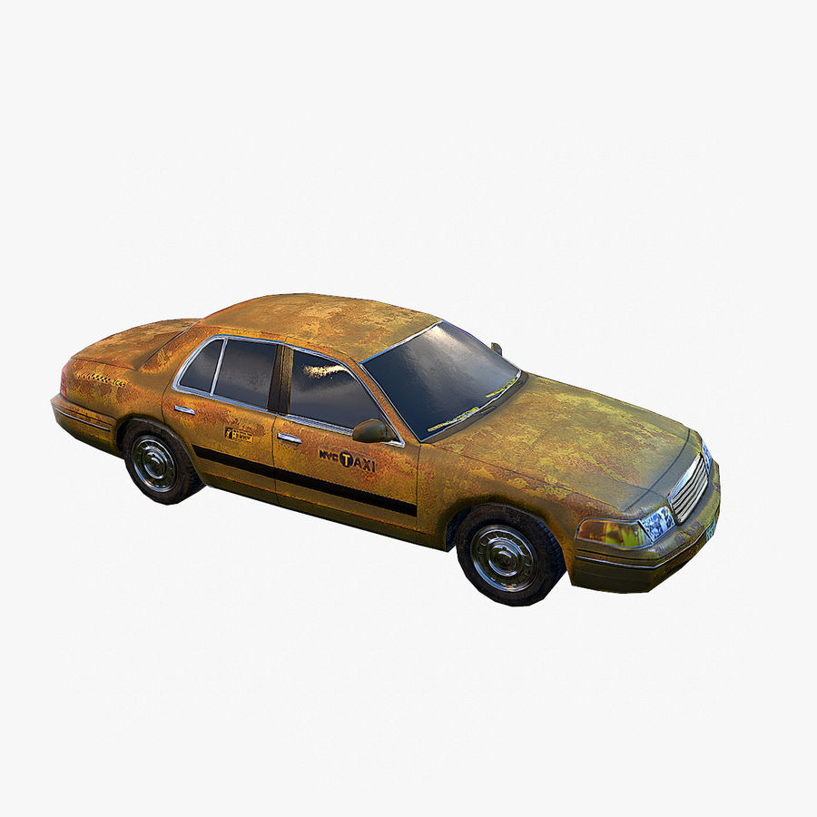 Old Car Taxi (low poly) royalty-free 3d model - Preview no. 4