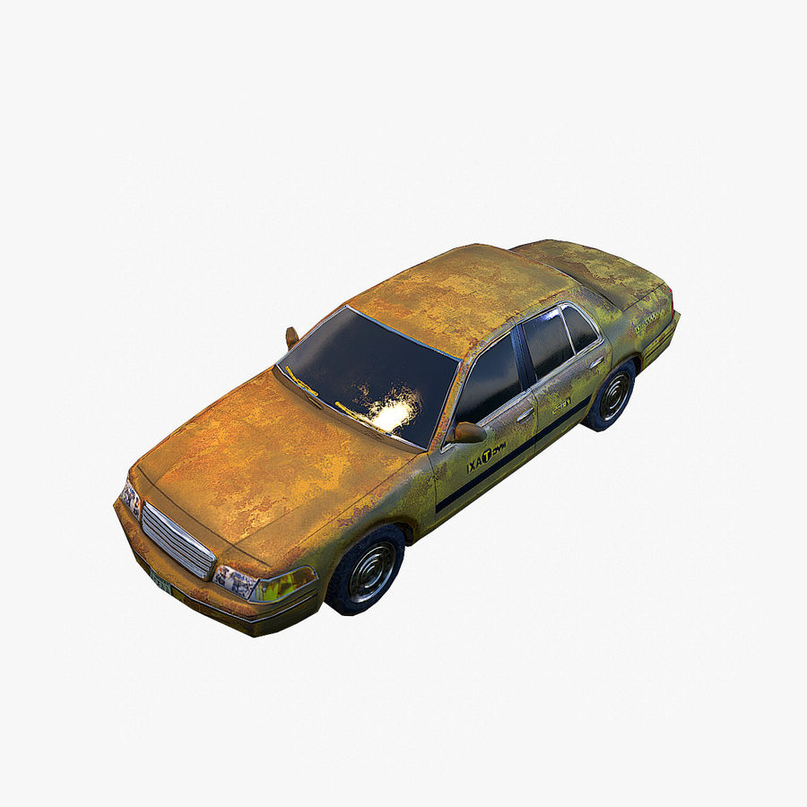 Old Car Taxi (low poly) royalty-free 3d model - Preview no. 1
