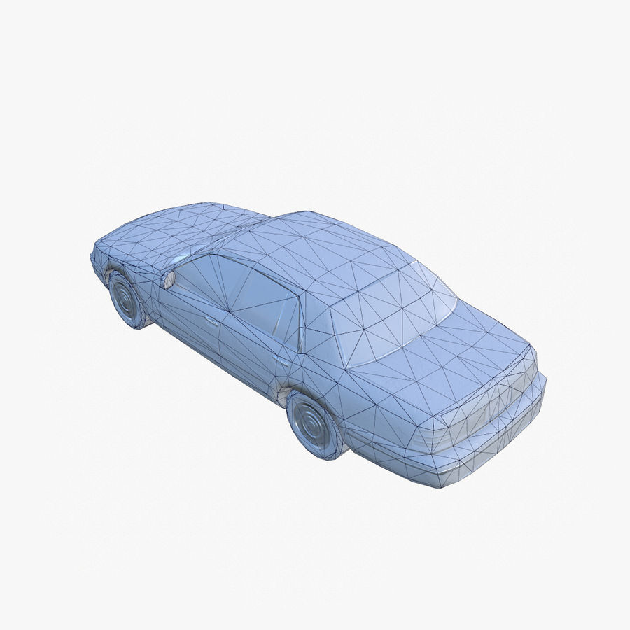 Old Car Taxi (low poly) royalty-free 3d model - Preview no. 7