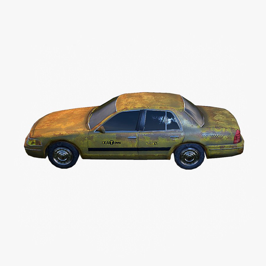 Old Car Taxi (low poly) royalty-free 3d model - Preview no. 2