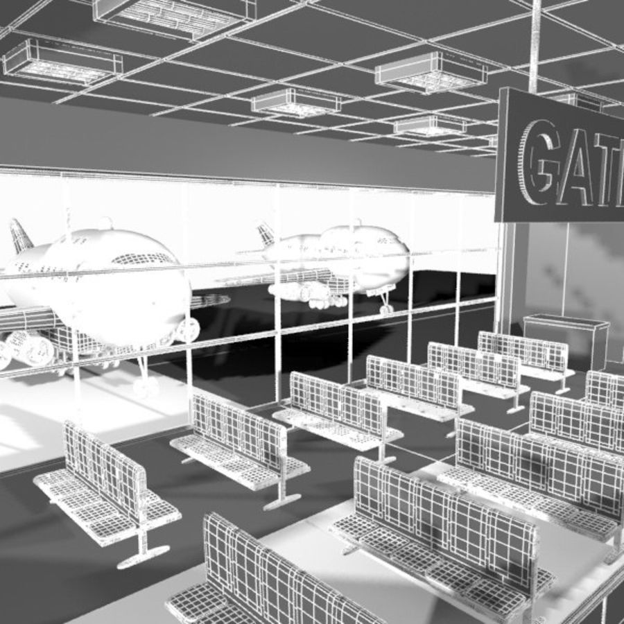 Çizgi Film Havaalanı Bekleme Odası royalty-free 3d model - Preview no. 11
