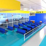 Cartoon Airport Waiting Room 3d model