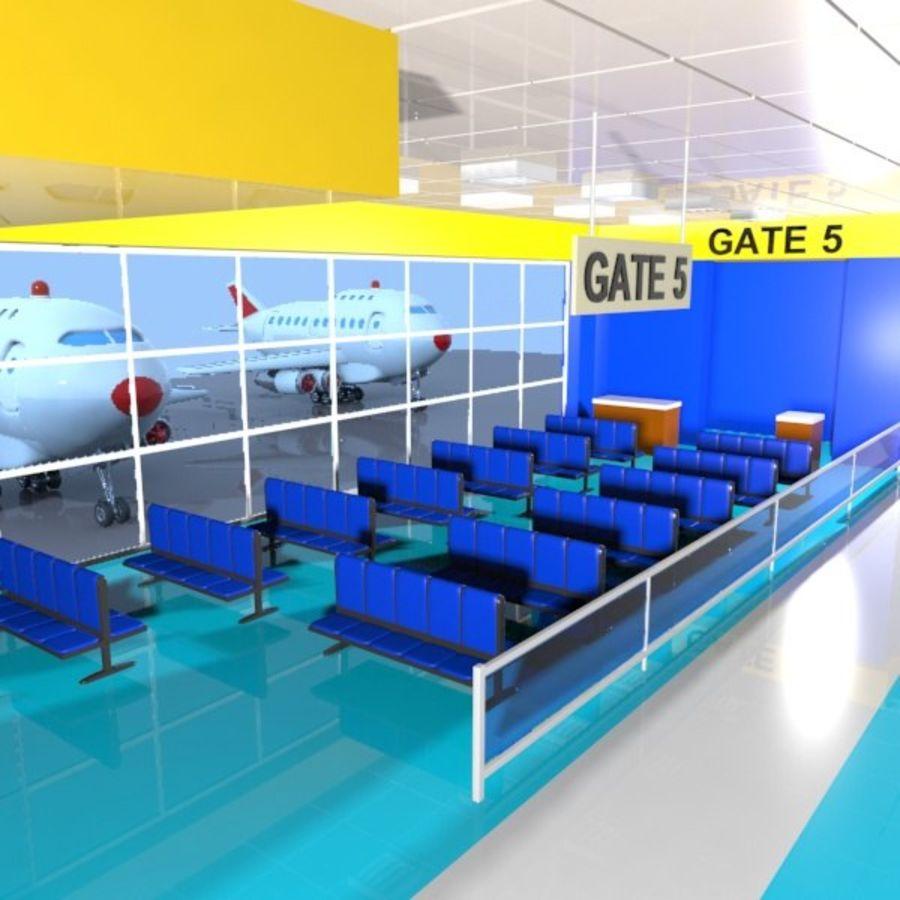 Çizgi Film Havaalanı Bekleme Odası royalty-free 3d model - Preview no. 1