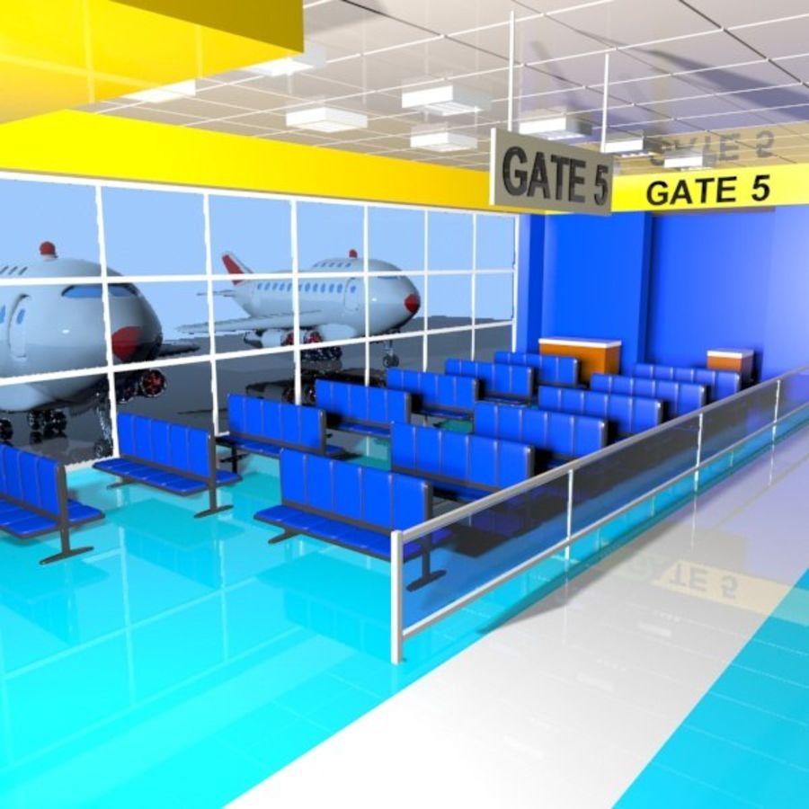 Çizgi Film Havaalanı Bekleme Odası royalty-free 3d model - Preview no. 2