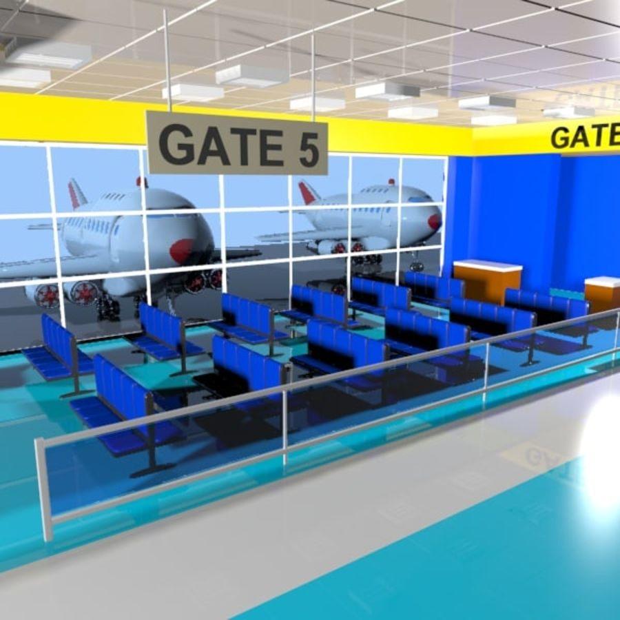 Çizgi Film Havaalanı Bekleme Odası royalty-free 3d model - Preview no. 6