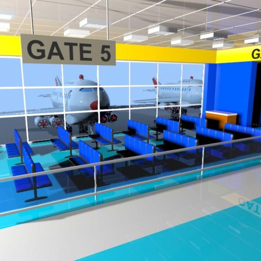 Çizgi Film Havaalanı Bekleme Odası royalty-free 3d model - Preview no. 3