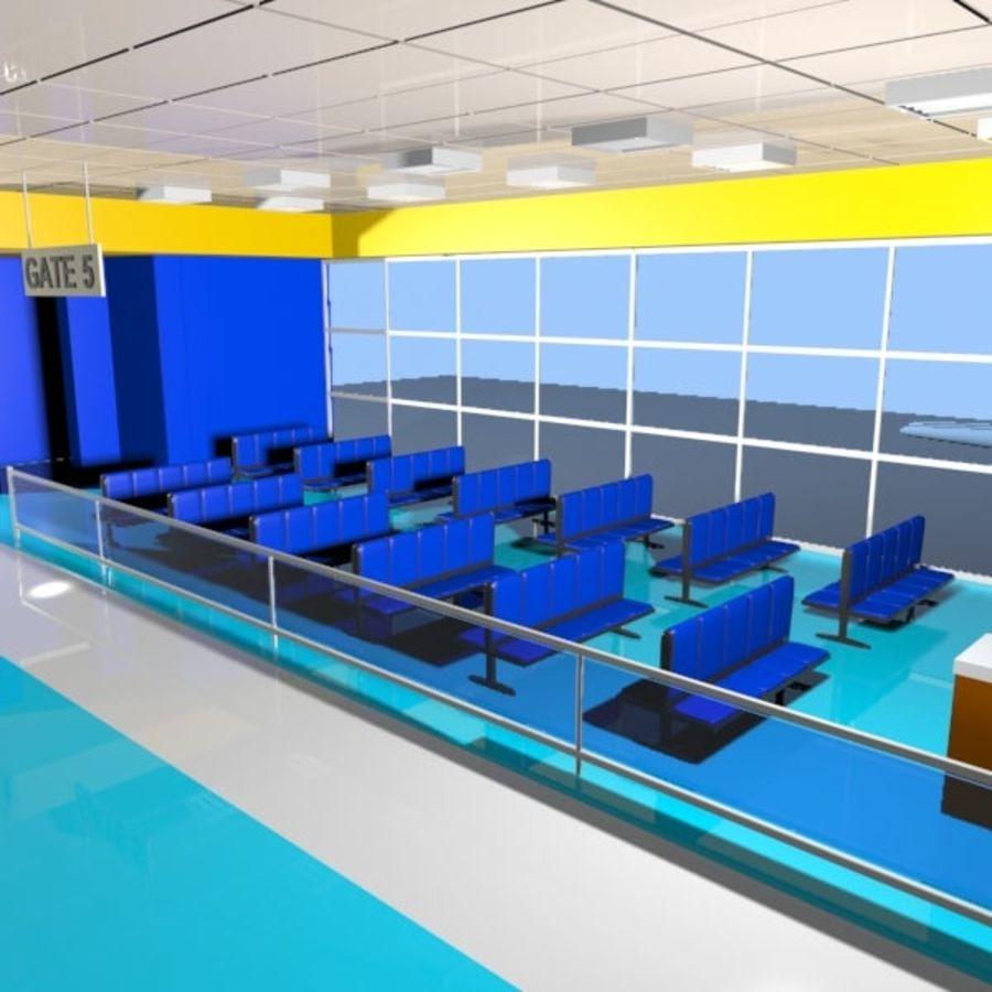 Çizgi Film Havaalanı Bekleme Odası royalty-free 3d model - Preview no. 5