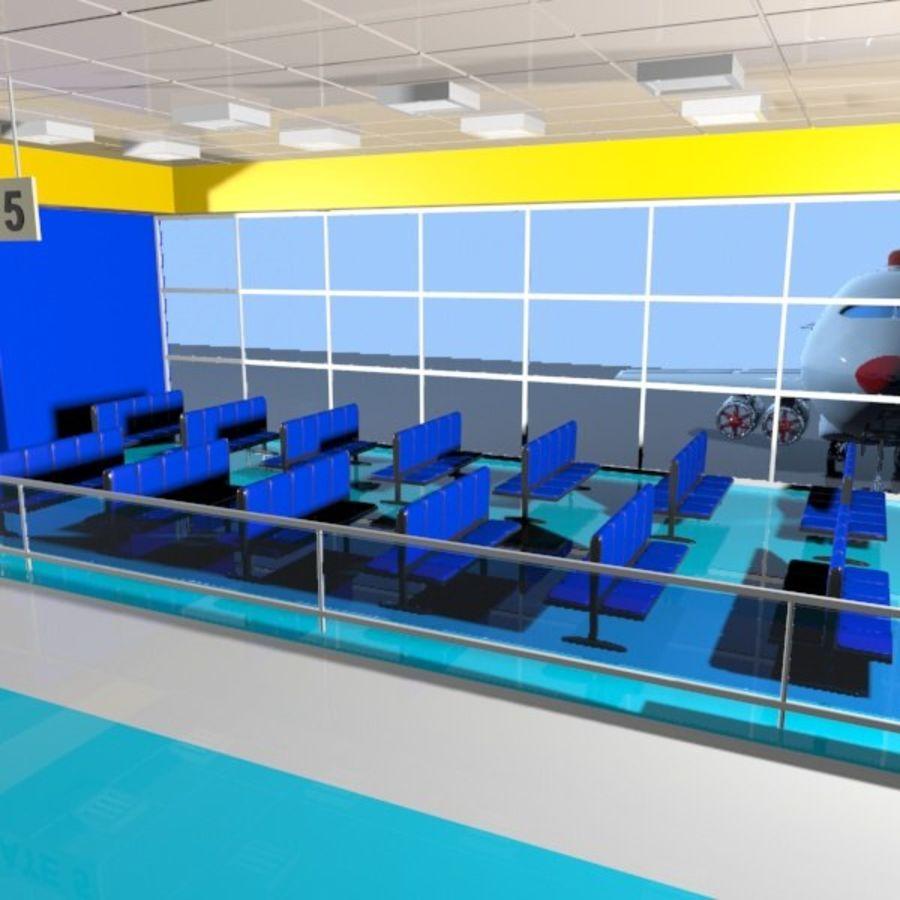 Çizgi Film Havaalanı Bekleme Odası royalty-free 3d model - Preview no. 4