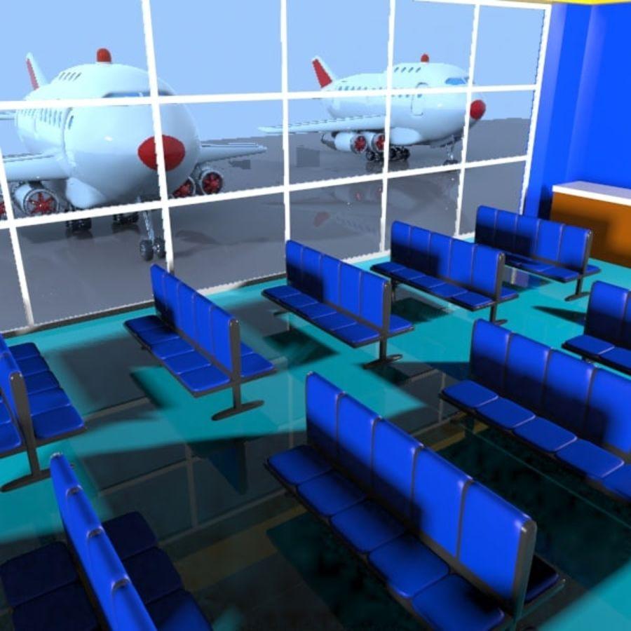 Çizgi Film Havaalanı Bekleme Odası royalty-free 3d model - Preview no. 7