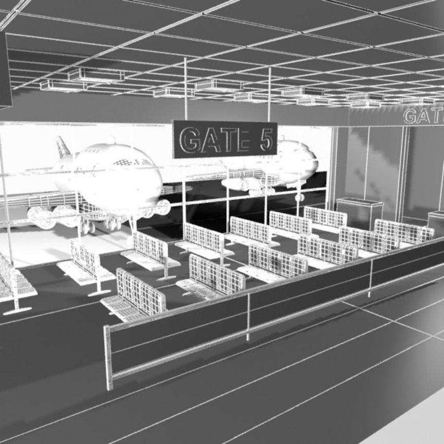 Çizgi Film Havaalanı Bekleme Odası royalty-free 3d model - Preview no. 9
