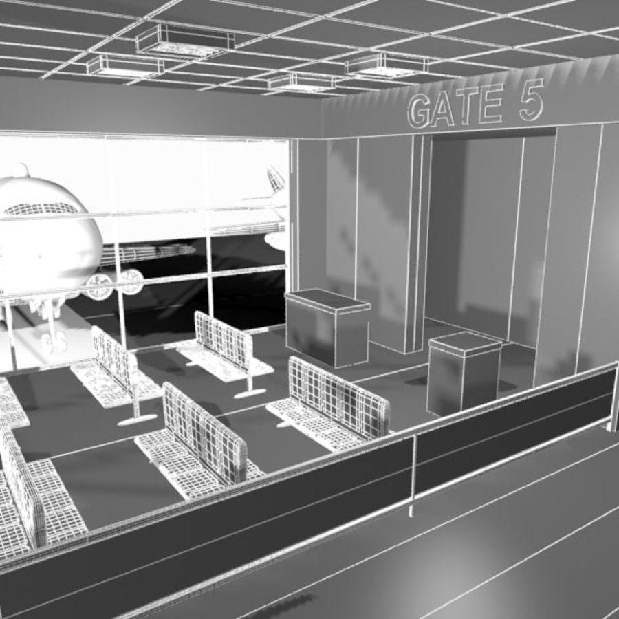 Çizgi Film Havaalanı Bekleme Odası royalty-free 3d model - Preview no. 10