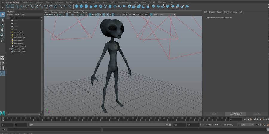 Alien character royalty-free 3d model - Preview no. 17
