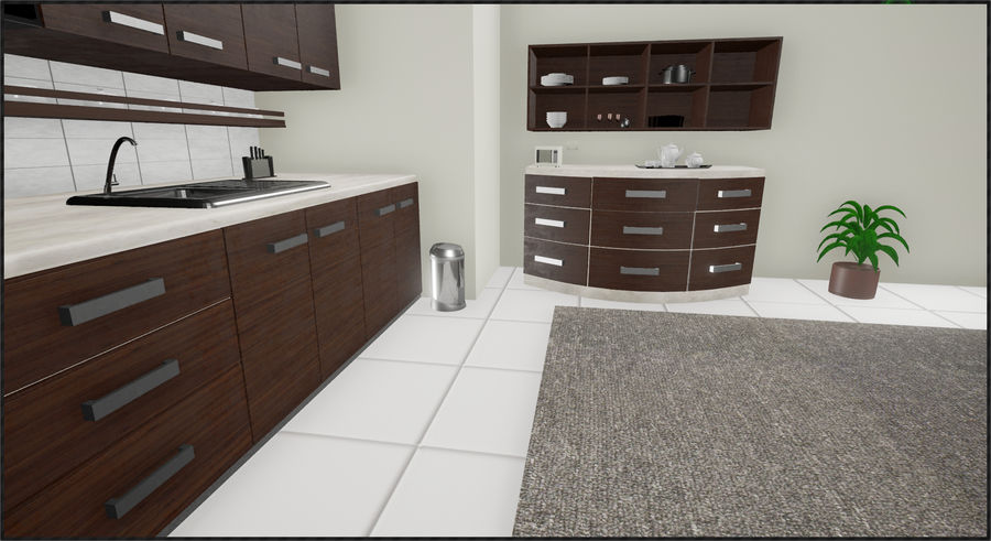 Cocina moderna royalty-free modelo 3d - Preview no. 6